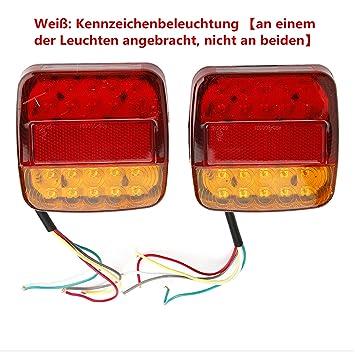 2x 8 LED Rücklicht Anhänger mit E11 PRÜFZEICHEN Universal ...