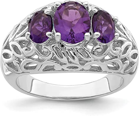 Ring Sterling Silver 925 Amethyst CZ Rhodium Plated Band Width 2 mm Size 6