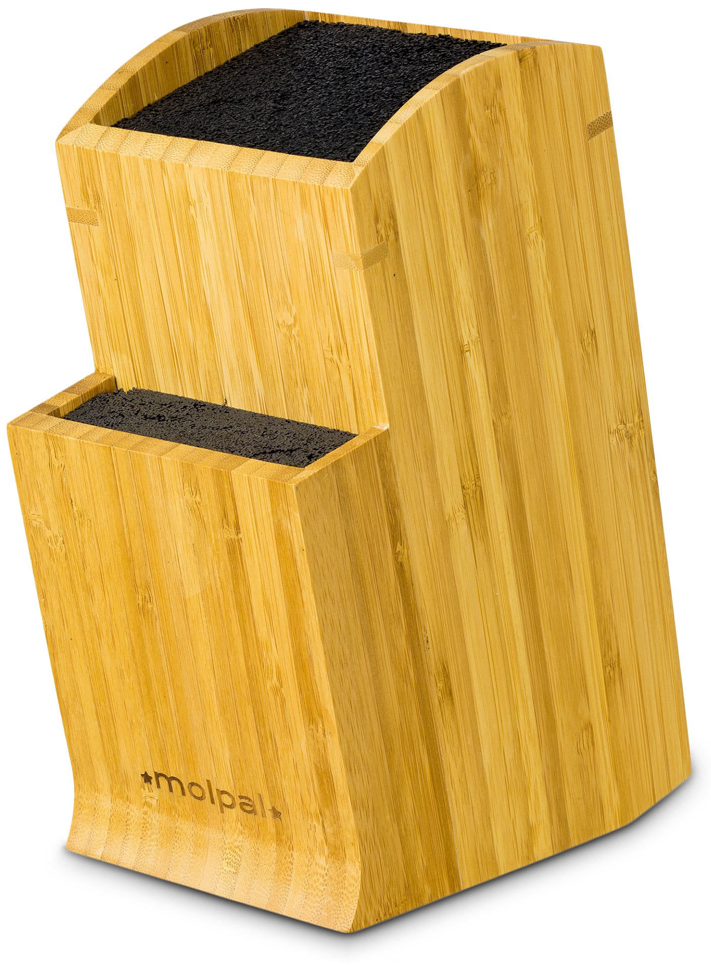 Universal Knife Block Stand Holder - Without Knives, 2 Tier Slotless Storage Kitchen Bamboo Countertop Organizer fit Large & Small Cutlery & Accessories - Easy Clean Dishwasher Safe Removable Bristles