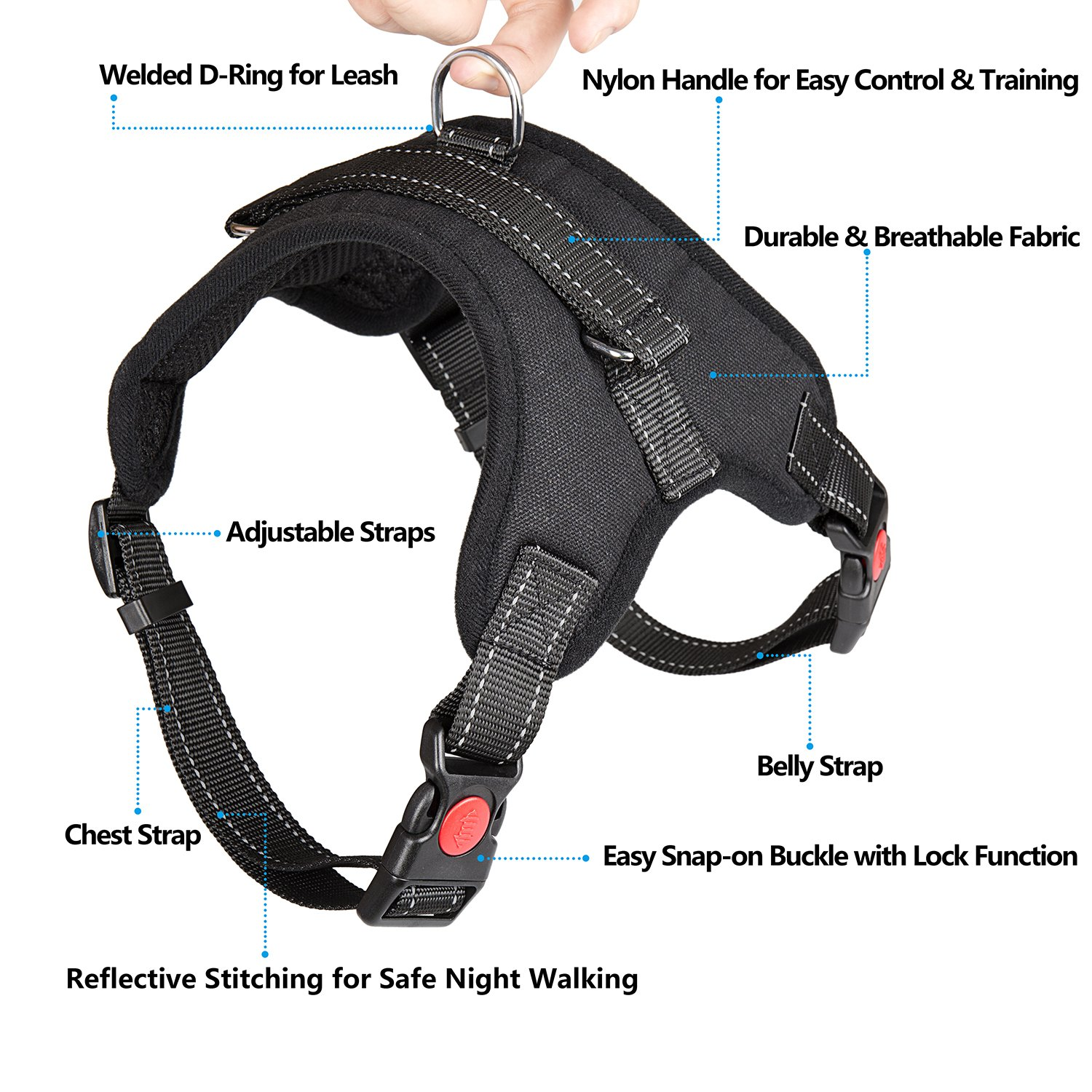 Dog Harness No-Pull Pet Harness - Adjustable Padded Reflective Pet Vest with Handle & Dog Leash Set - Easy Control for Small Medium Large Dogs - Perfect for Daily Training Walking Running (Medium) by THE ONE (Image #2)