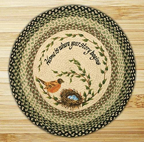 Earth Rugs Round Rug, 27 , Black Ivory Sage