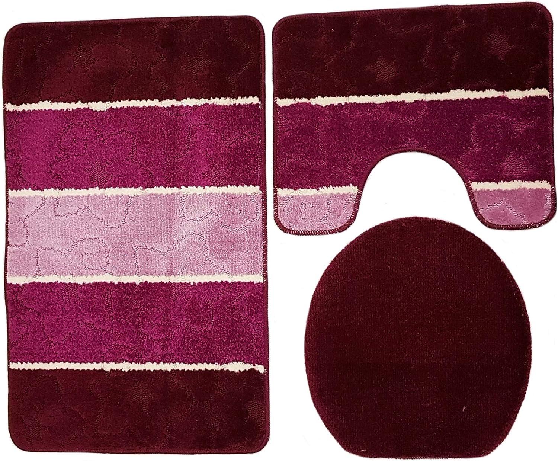 farbig gestreift Bordeaux Altrosa rosa Set 60x100 cm WC Vorleger mit Ausschnitt f/ür Stand-WC Ilkadim Orion Badgarnitur 3 TLG