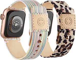 Compatible with Apple Watch Bands 38mm 40mm, Soft Cloth Fabric iWatch Bands Women Men Canvas with Genuine Leather Lining and Snap Button Straps for Apple Watch Series 6/5/4/3/2/1/SE,Rainbow, Leopard