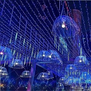 TOPIST Meteor Shower Rain Lights, Falling Rain Christmas Lights 8 Tube 144 LED, Falling Raindrop Icicle Cascading Decoration Lights for Wedding Party Halloween Holiday Xmas Tree Garden(Blue)
