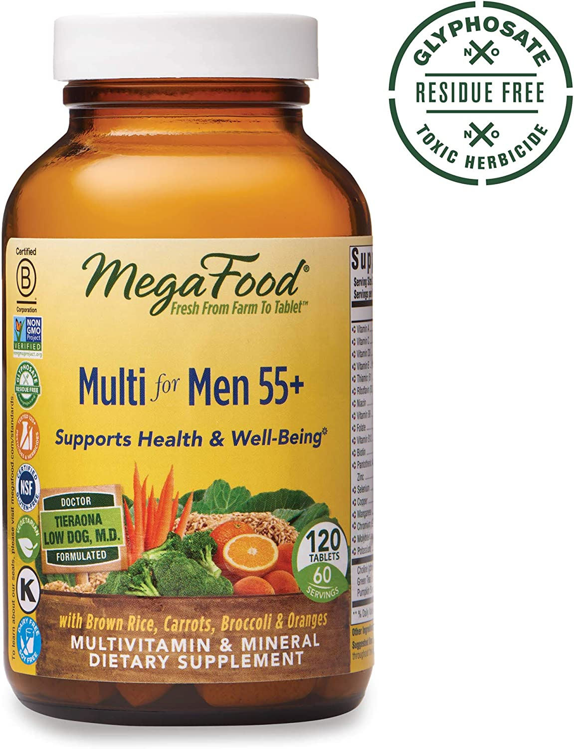 MegaFood – Multi for Men 55 , Multivitamin Support for Energy Production, Brain Function, Prostate and Heart Health with Zinc and Methylated Folate, Vegetarian, Gluten-Free, Non-GMO, 120 Tablets