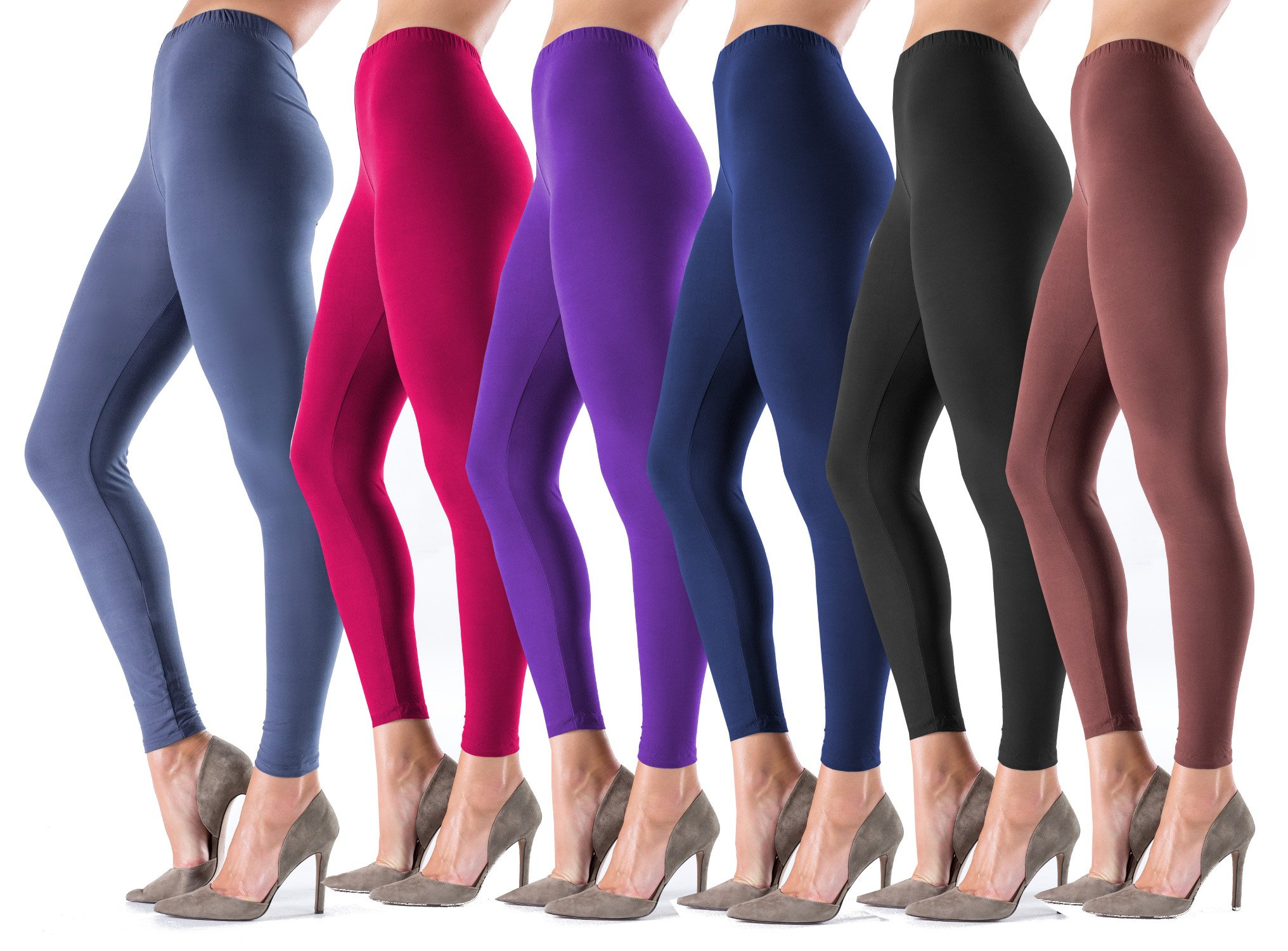Lush Moda Women's Basic Leggings - Extra Soft and Variety of Colors - 6-Pack