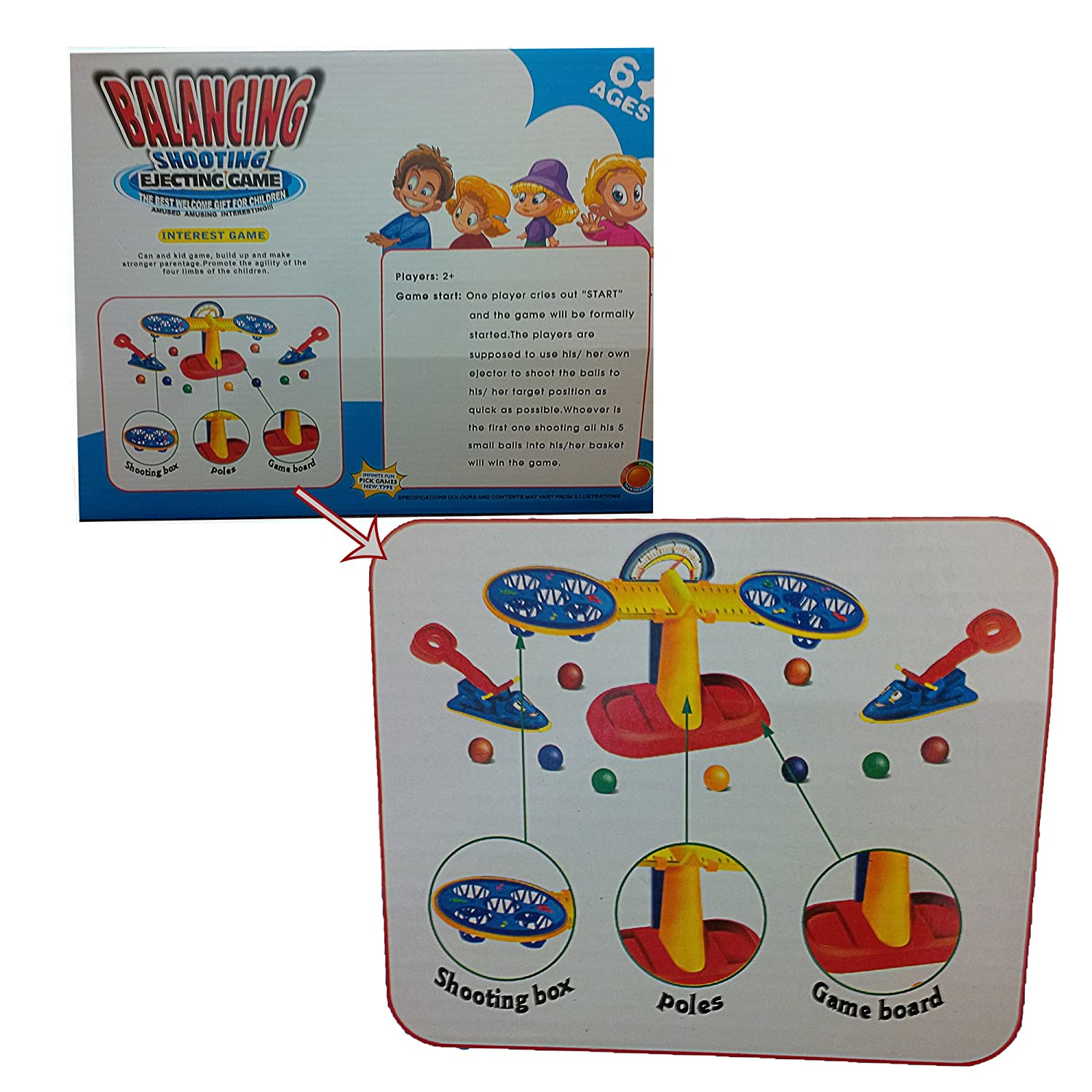 Fun//Interactive Shoot and Score Toy Dazzling Toys Balancing Shooting Basket Ball Game Improves Strategy//Balance Compact//Portable