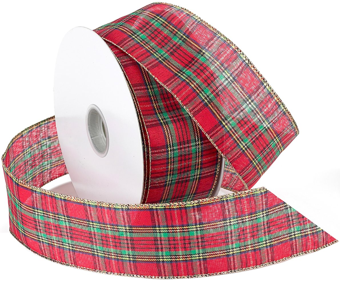 Morex Ribbon Festival Wired Plaid Fabric Ribbon, 2-1/2-Inch by 50-Yard Spool, Red