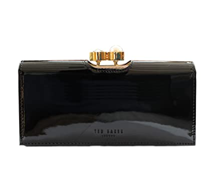 7027ce061 TED BAKER WOMAN S PEARL BOBBLE   TURBINE CRYSTAL FRAME PATENT LEATHER PURSE  ELINORR BLACK