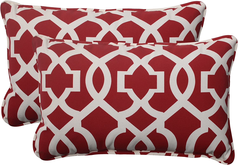 Pillow Perfect Indoor/Outdoor New Geo Corded Rectangular Throw Pillow, Red, Set of 2