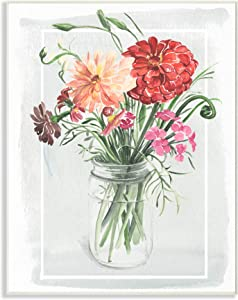 The Stupell Home Décor Collection Summer Zinnia Wildflowers in a Mason Jar Watercolor Painting Wall Plaque Art, 10 x 15, Multi-Color