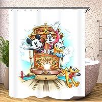 Fgolphd Cortina de ducha, diseño de Mickey Mouse, color rojo, 180 x 200, 180 x 180, 200 x 240, color crema, verde, hojas…