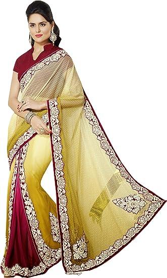 58cad12563 Yellow Maroon Zari Patch Work Bridal Wear Net Chiffon Lehenga Saree Sari:  Amazon.in: Clothing & Accessories