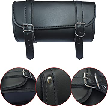 DEFY Motorcycle Tool Bag Handlebar Saddle Bag PU Leather Storage Tool Pouch 2 Strap Closure Defy Sports Inc DS-TB-101