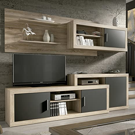 HomeSouth - Mueble de Comedor, Salon Modelo Opalo, Acabado Color Cambria y Grafito, Medidas: 240 cm de Ancho