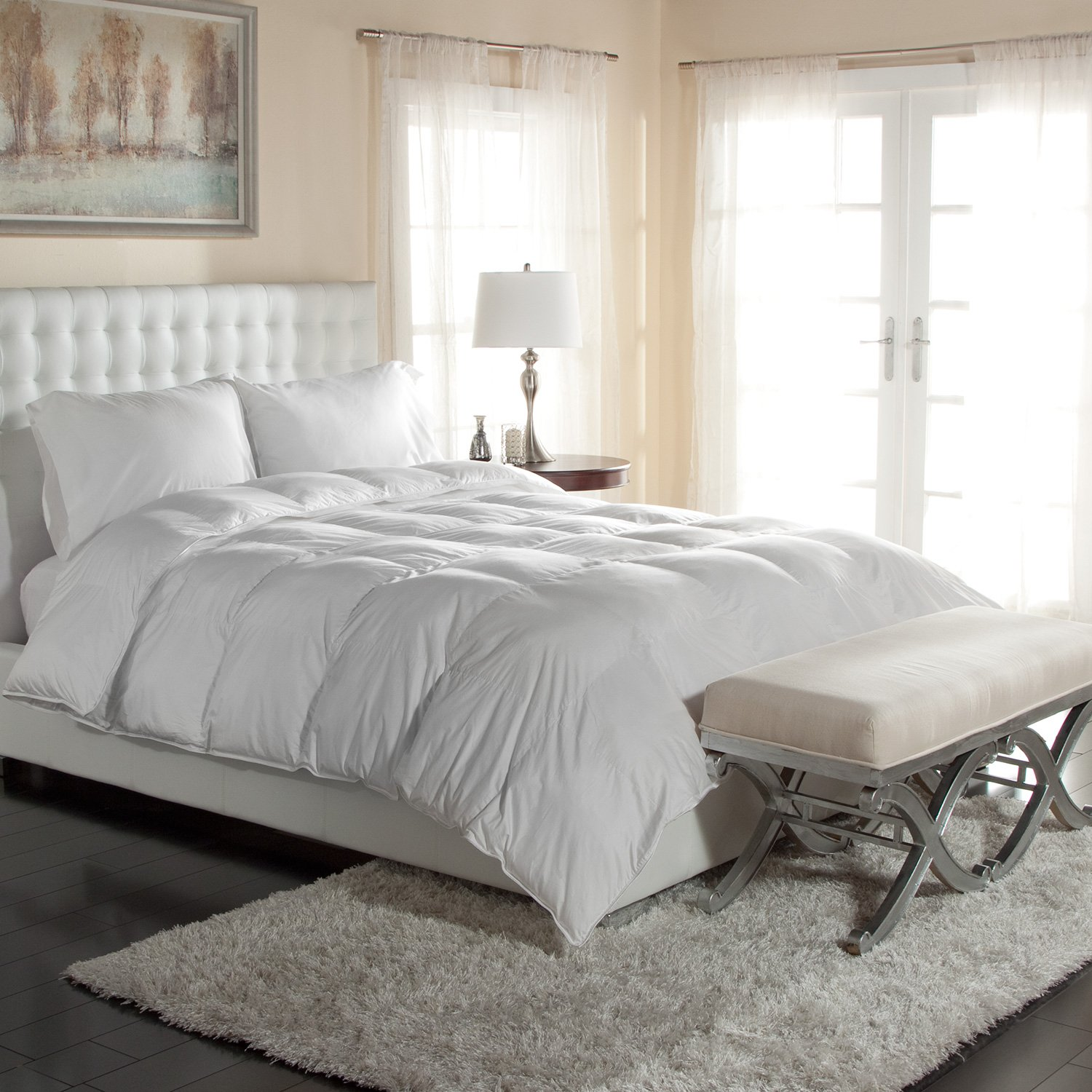 Luxury Silky Cotton Sateen Oversized White Down Comforters - Great for the Master Bedroom Comforter (Super King)