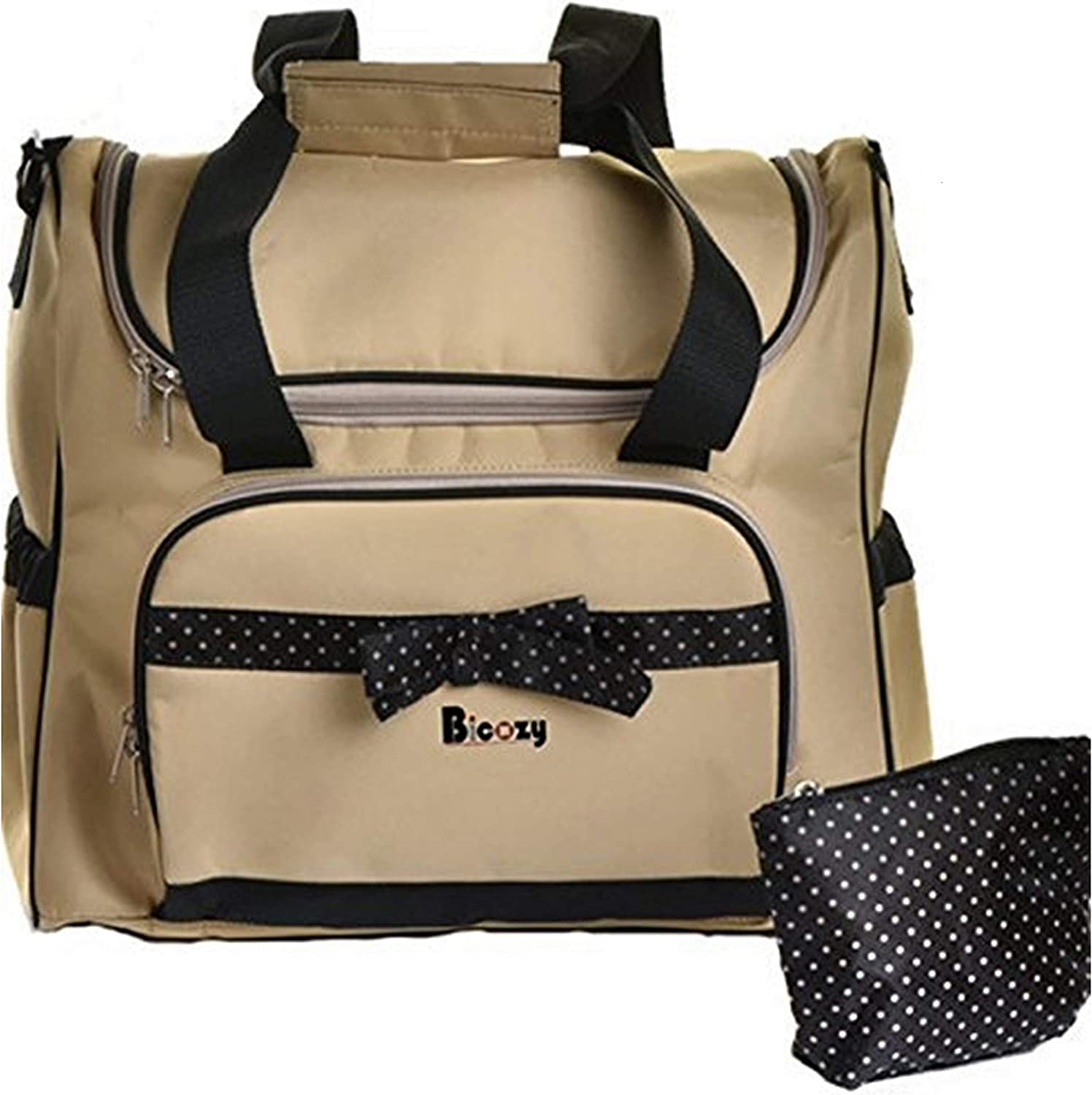 Diaper Tote Bag New Design Neutral Beige Color Changing Mat Roomy Waterproof Stylish and Durable Mom Bag Cute for Baby Boys & Girls