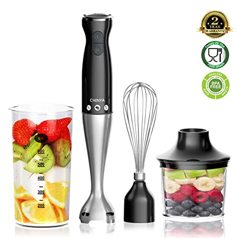 Hand Blender, (New Version) Powerful 4-in-1 Immersion Hand Blender with 16oz Food Chopper, 20oz SAN Beaker and Ballon Whisk, BPA-Free Hand Mixer Set ...