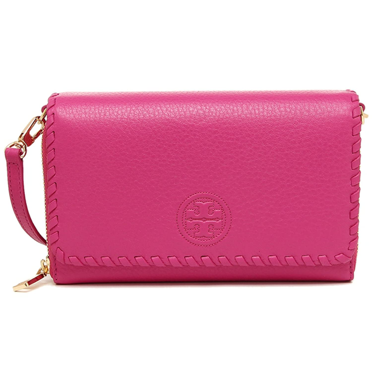 520ed075852 Amazon.com: Tory Burch MARION Leather Flat Wallet Crossbody Bag HIBISCUS  FLOWER: Shoes