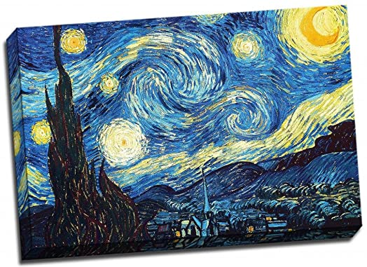 VINCENT VAN GOGH STARRY NIGHT Canvas Print Poster 30x20 Inches A1 ...