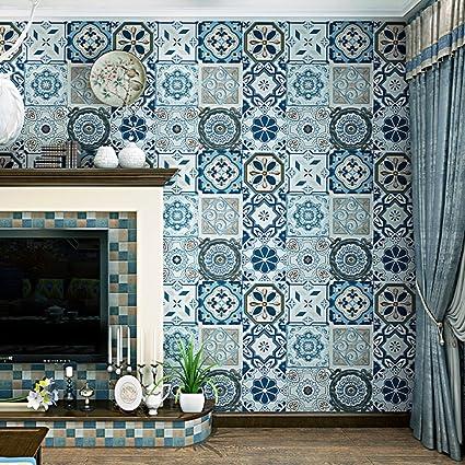 Imitation Ceramic Tile Wallpaper Wall Decorative Bohemian Ethnic Style Living Room Bedroom