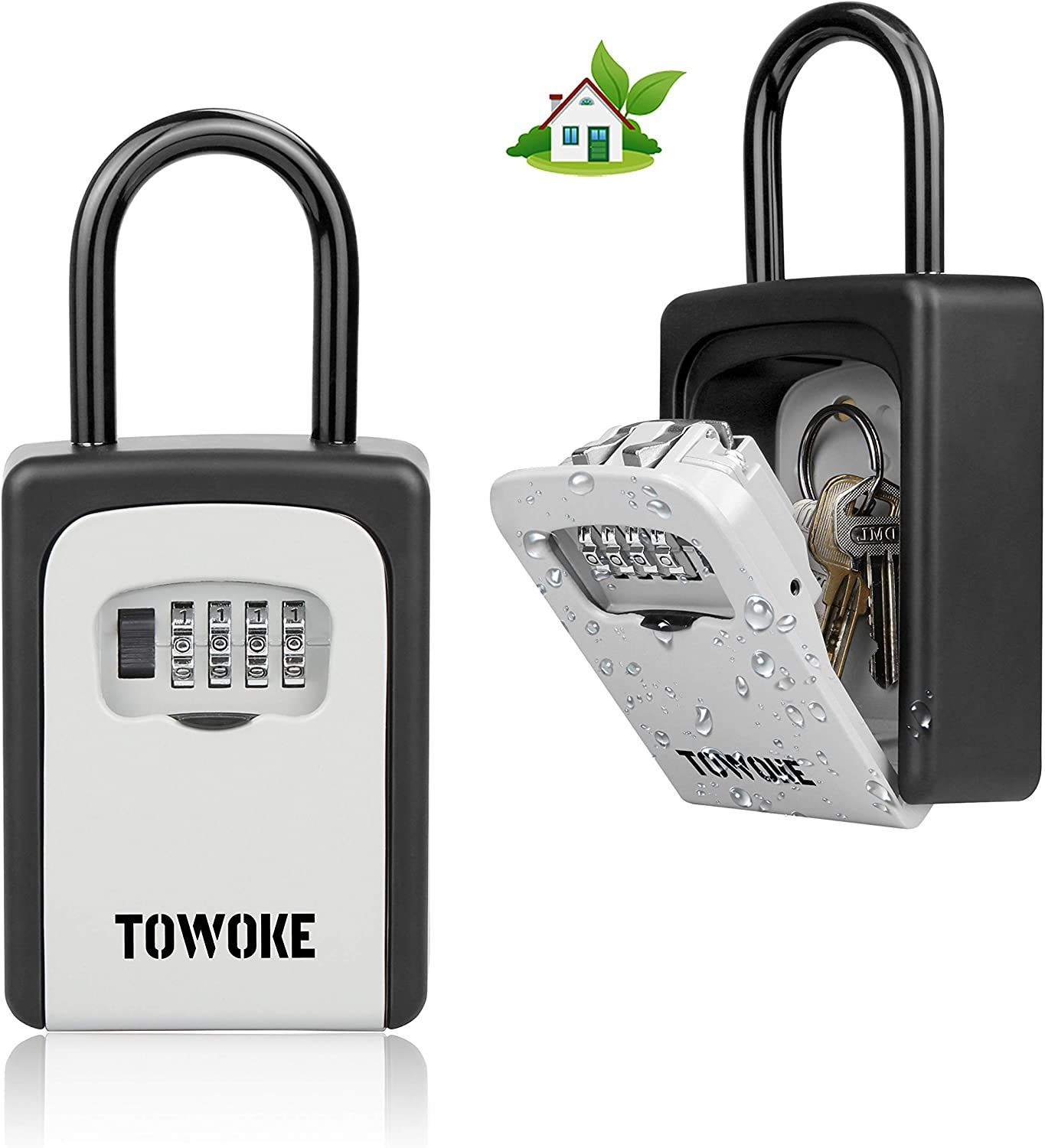 TOWOKE Key Lock Box For Outside - Weatherproof Lock box For House Key, Resettable 4-Digit Combination Lockbox, Key Storage with Loop for House, Hotels, Airbnb, Schools, Large Capacity -Updated Version