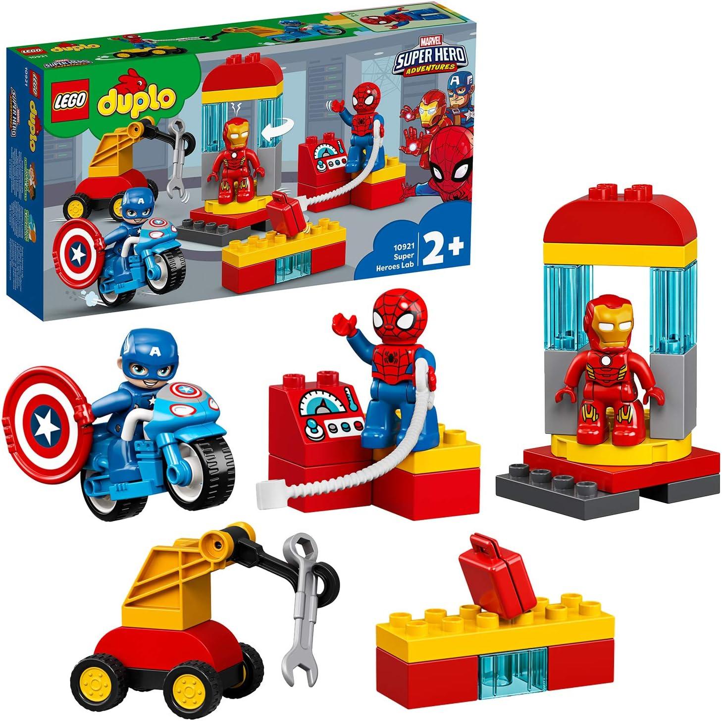 LEGO DUPLO Super Heroes - Laboratorio de Superhéroes, Set de Construcción Inspirado en Marvel, Incluye Figuras de Personajes como Spider-man, Ironman y Capitán América (10921)