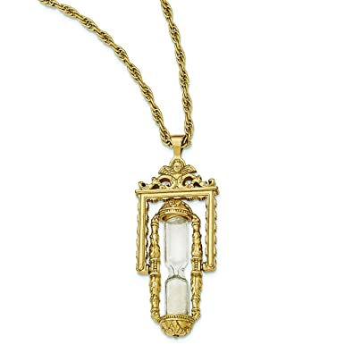 29a533f485fe4 1928 Jewelry Gold-tone Glass & Sand Workable Hourglass Pendant Necklace