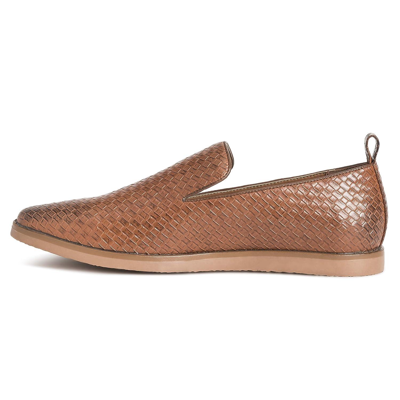 Mens Queensbery Kingsley Work Leather Summer Flat Slip On Weave Shoes