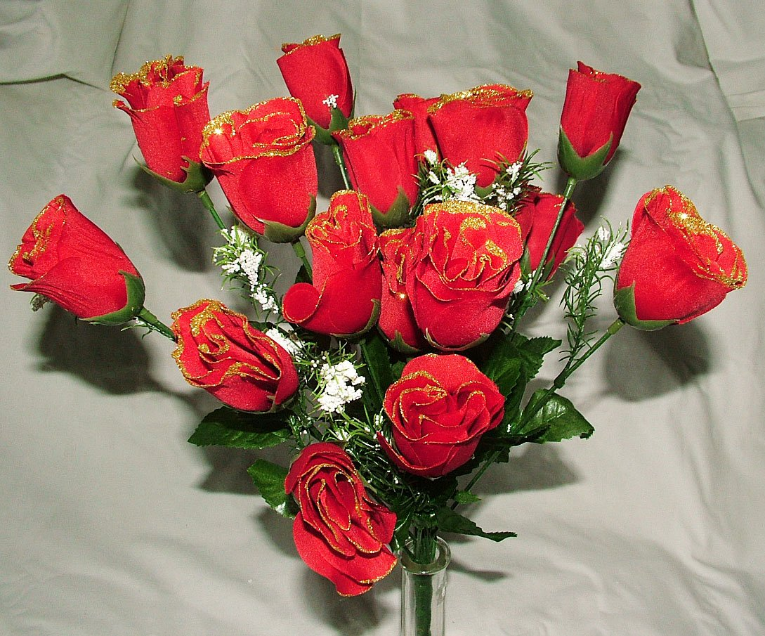 Beautiful artificial silk red rose bud bush with gold glitter 18 beautiful artificial silk red rose bud bush with gold glitter 18 heads each christmas amazon kitchen home izmirmasajfo
