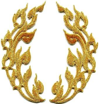 Llamas, adornos en dorado Retro Boho Chic Art Deco bordado Appliques parches para planchar: Amazon.es: Hogar