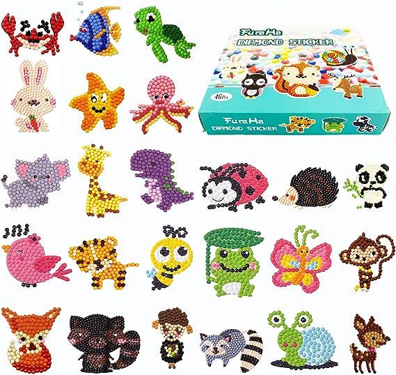 Childrens Painting Number Arts Water Bottle Refrigerator Graffiti Stickers CIEOVO 36 Pcs 5D Jungle Animals Diamond Painting Kits DIY Mosaic Diamond Stickers Craft