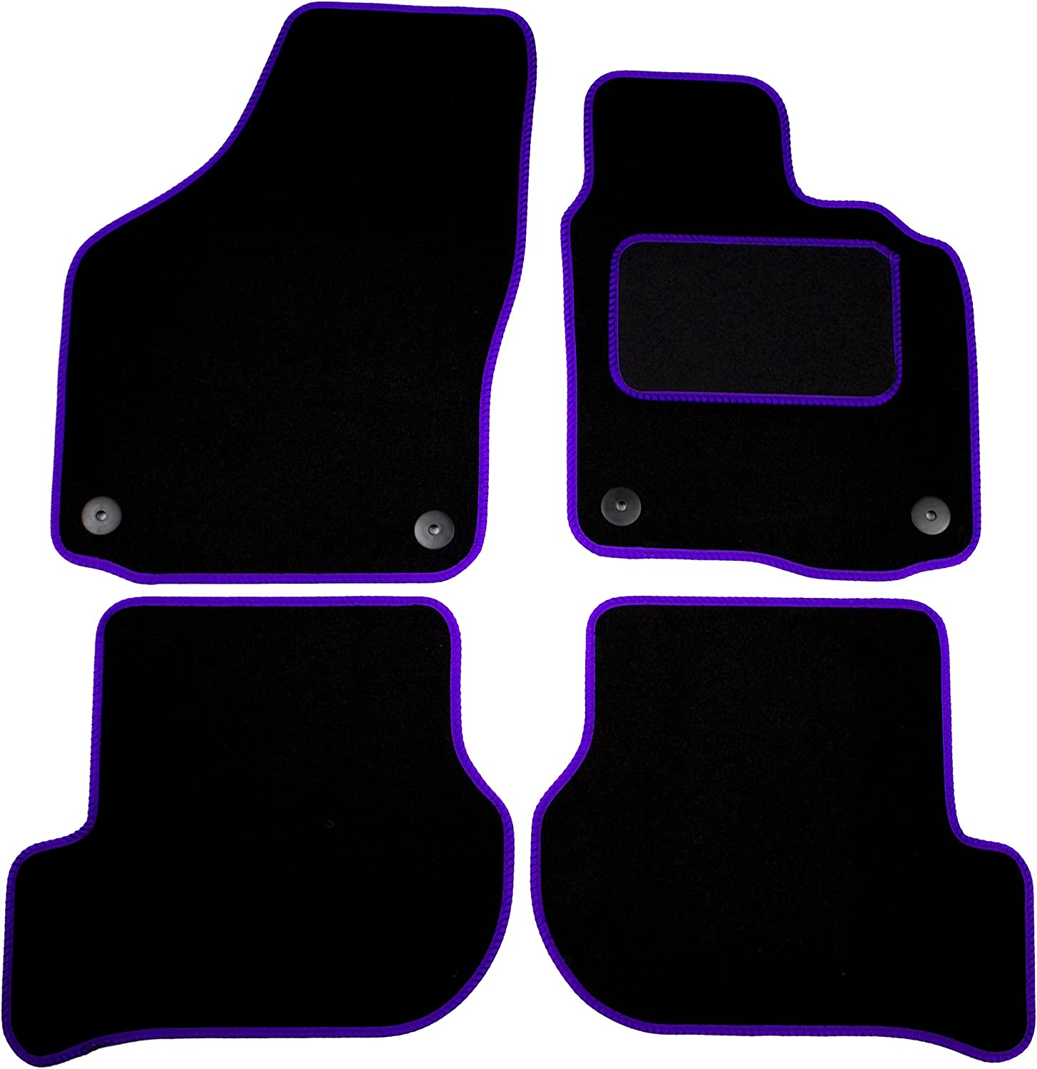 Cosmos V2666STBL15HP Standard Black Tailored Floor Mat with Purple Binding with Heelpad