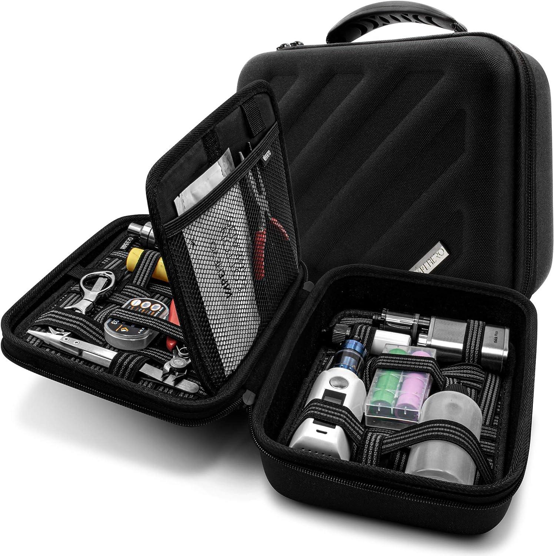 VapeHero - Funda para cigarrillo electrónico (tamaño XXL, para líquidos y accesorios, con estera, para modelos grandes)