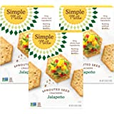 Simple Mills Jalapeno Gluten Free Sprouted Seed Crackers with Chia Seeds, Hemp Seeds, Sunflower Seeds, Flax Seeds, and…