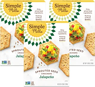 product image for Simple Mills Jalapeno Gluten Free Sprouted Seed Crackers with Chia Seeds, Hemp Seeds, Sunflower Seeds, Flax Seeds, and Sunflower Oil, Made with whole foods, 3 Count (Packaging May Vary)