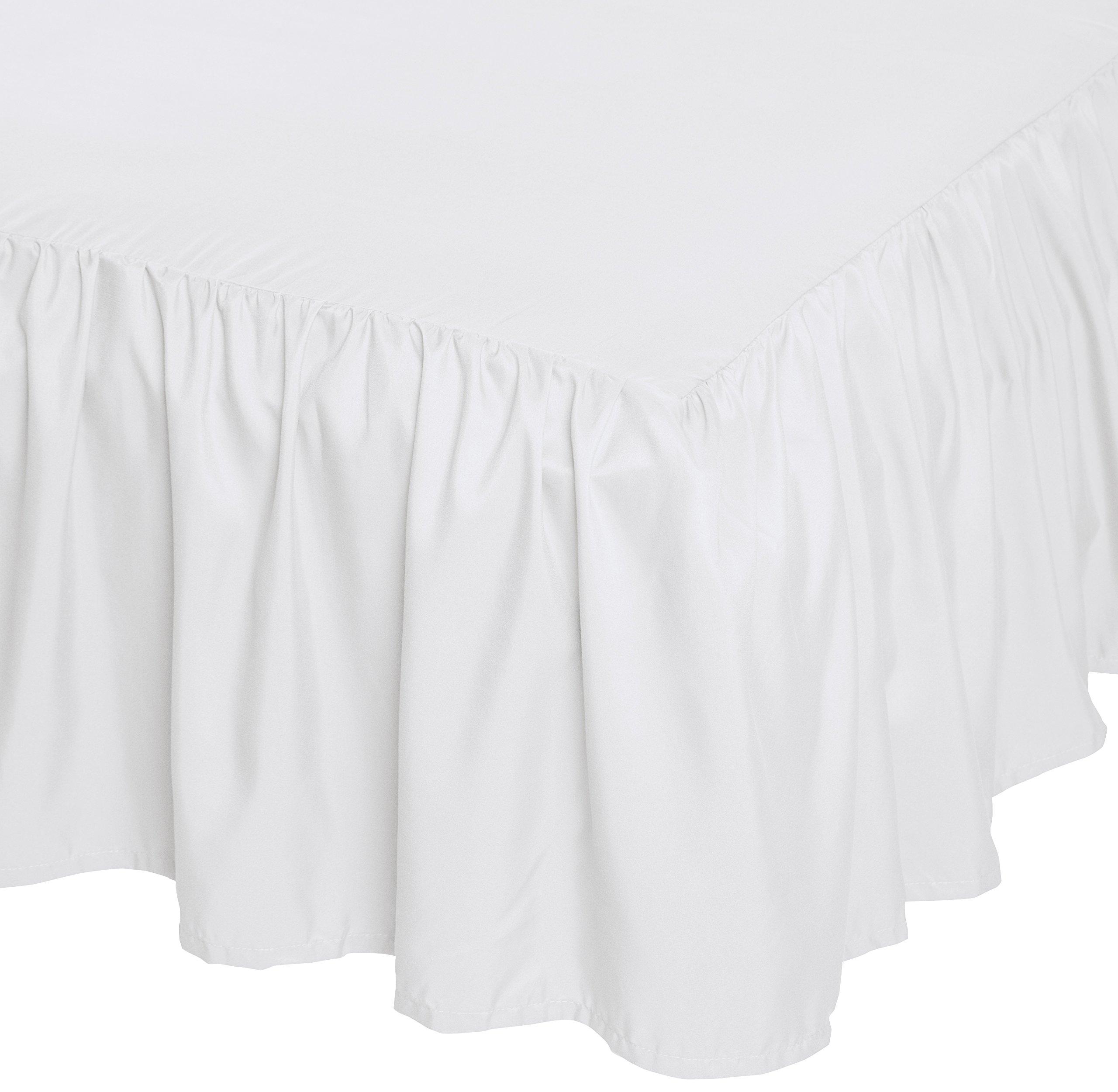 AmazonBasics Ruffled Bed Skirt, 16 Inch Skirt Length, Queen, Bright White by AmazonBasics