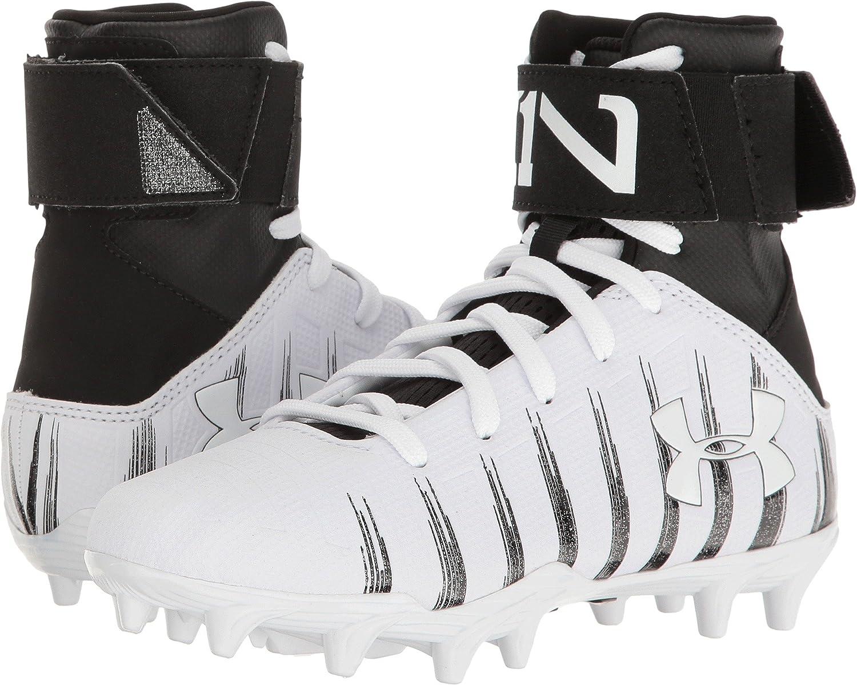 Little Kid//Big Kid Football Under Armour Kids Boys UA C1N MC Jr White//Metallic Silver Athletic Shoe