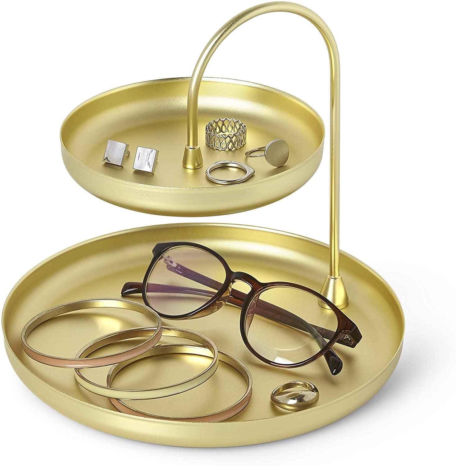 Umbra Poise Large Jewelry Tray, Double Jewelry Tray, Attractive Jewelry Storage You Can Leave Out, Two-Tiered Jewelry Tray, Matte Brass Finish