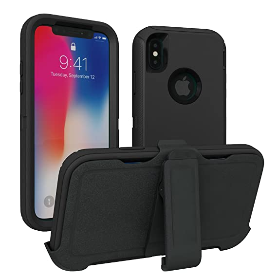 super popular f9f32 1da3f iPhone X Case, iPhone Xs Case, ToughBox [Armor Series] [Shock Proof] for  Apple iPhone X Case [Comes with Holster & Belt Clip] [Fits OtterBox  Defender ...