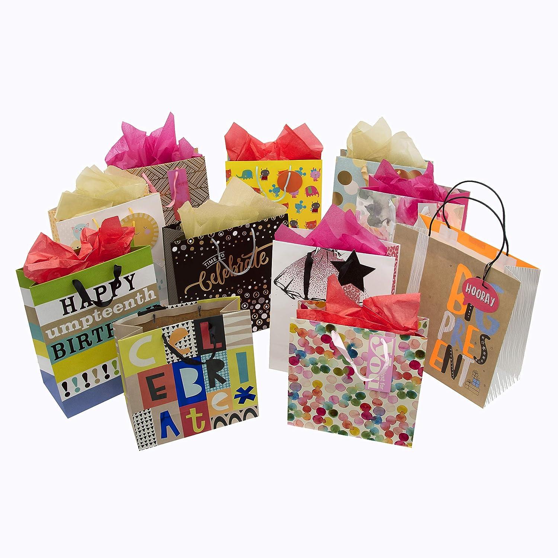 Hallmark - Bolsa de regalo y pañuelos de tela mixtos, 1 bolsa grande, 10 bolsas medianas y 3 paquetes de pañuelos: Amazon.es: Oficina y papelería