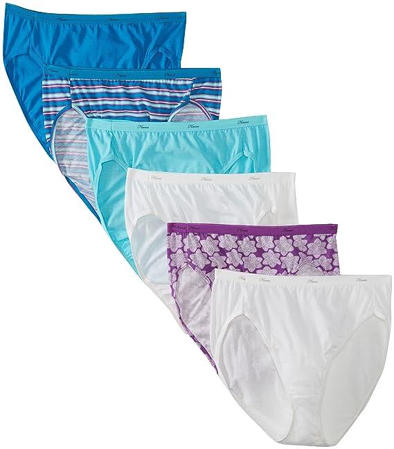 0dd46686d7c8 Hanes Women's 6 Pack Core Cotton Hi Cut Panty: Amazon.ca: Clothing &  Accessories