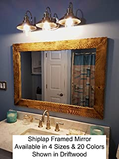 61a87a6c543d Shiplap Large Wood Framed Mirror Available in 4 Sizes and 20 Colors  Shown  in Driftwood