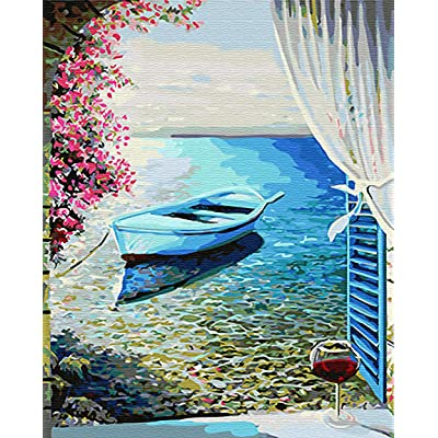"iCoostor Paint by Numbers DIY Acrylic Painting Kit for Kids & Adults- 16"" x 20""Sea Wiew Outside The Window Pattern: Toys & Games"