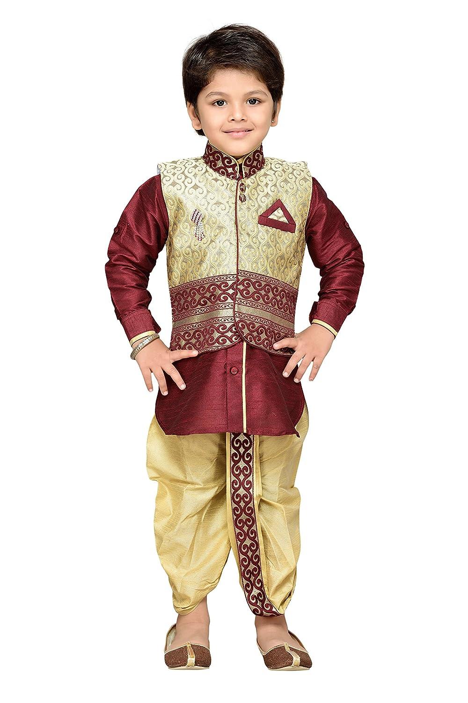 AJ Dezines Kids Indian Ethnic Kurta Waistcoat and Dhoti Pant for Boys DK-1087-$P