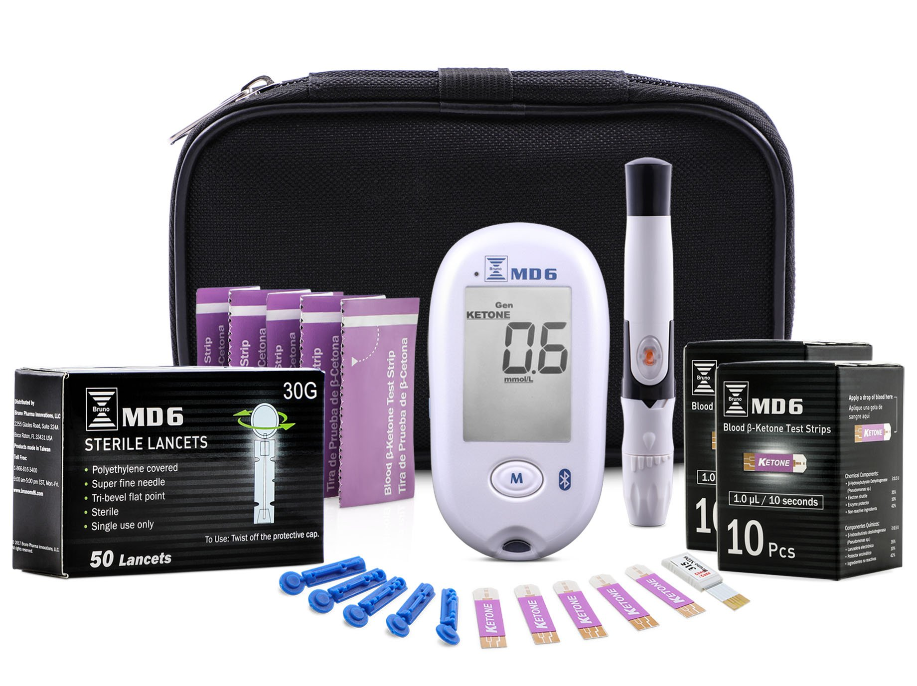 Blood Ketone Monitoring System | Track Your Ketones and Ketogenic Diet Progress | Ketosis Test Kit with Lancing Device, 10 Blood Glucose Test Strips, 20 Keto Strips + 50 Lancets by Bruno Pharma MD6 by Bruno MD6