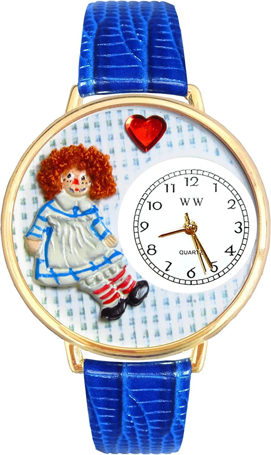 Vintage Raggedy Ann Royal Blue Leather and Goldtone Watch WG-G0220004