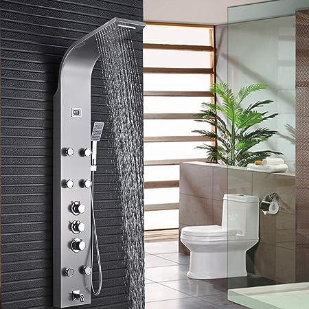 Salle de Bain Douche Pluie panneau de douche Jets de massage Baignoire Colonne de douche mitigeur