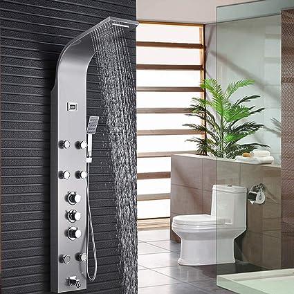 Saeuwtowy Panel de Ducha Acero Inoxidable Con Pantalla Digital De la Temperatura Del Agua 5 en 1 Columna de Hidromasaje Para Hogar Hotel Color Plata