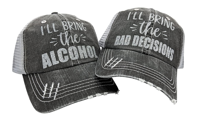Grey Silverglitter Loaded Lids Women's I'll Bring The Alcohol, Bad Decisions, Baseball Cap Bundle